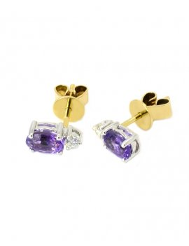 18ct Two-Tone Gold Amethyst & Diamond Stud Earrings