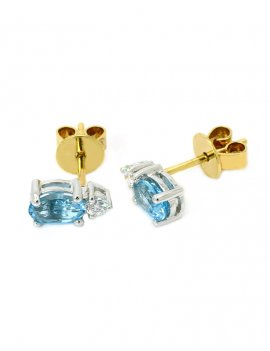 18ct Two-Tone Blue Topaz & Diamond Stud Earrings