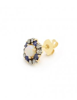 14ct Yellow Gold Diamond, Sapphire & Opal Stud Earrings