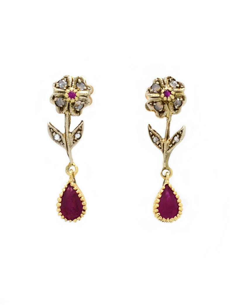 14K Gold Vintage Ruby & Diamond Drop Earrings