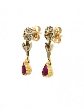 14ct Gold Ruby & Diamond Drop Earrings