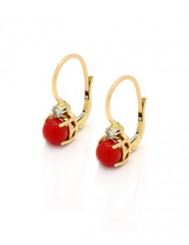 14K Gold Coral & Diamond Hoop Earrings