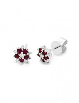 18ct White Gold Ruby & Diamond Flower Cluster Stud Earrings