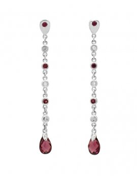 18ct White Gold Rhodolite and Diamond Drop Earrings