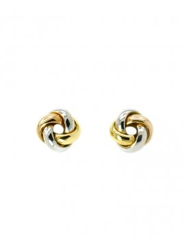 18ct Three-Tone Gold Knot Stud Earrings