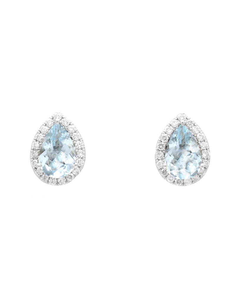 18ct White Gold Diamond Aquamarine Pear Shaped Halo Stud Earrings