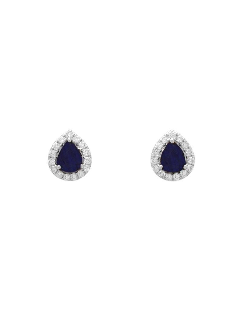 18ct White Gold Diamond Sapphire Pear Shaped Halo Stud Earrings