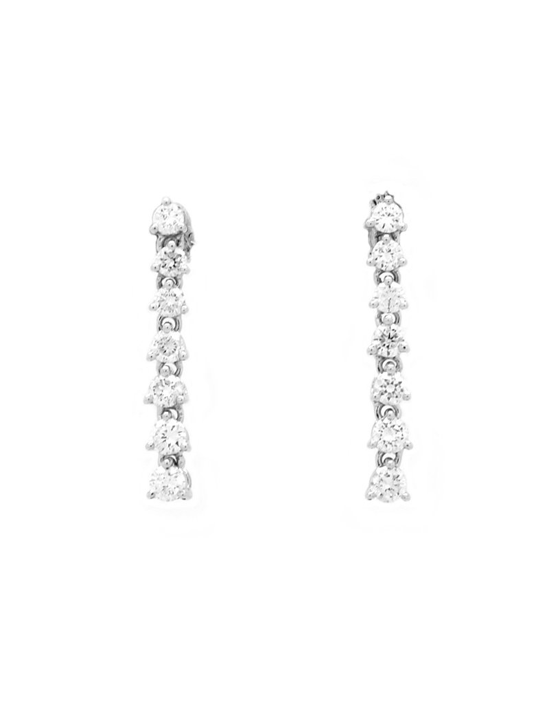 18ct White Gold Diamond (0.75ct) Drop Earrings