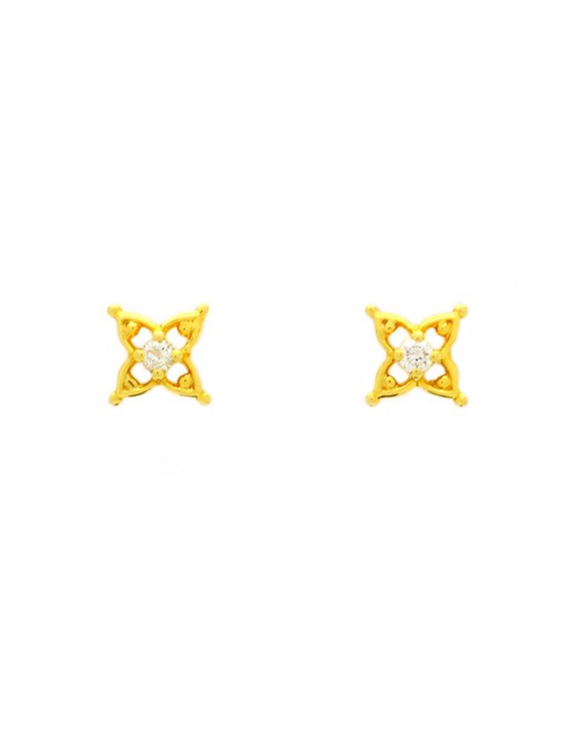 18ct Gold Diamond Star Stud Earrings