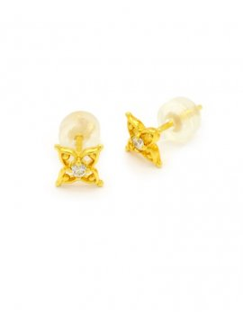 18ct Gold Diamond Star Stud Earrings