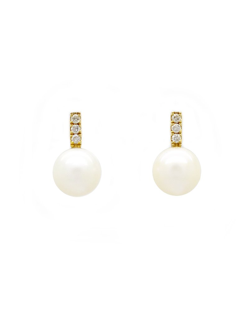 18ct Gold Freshwater Pearl & Diamond Earrings