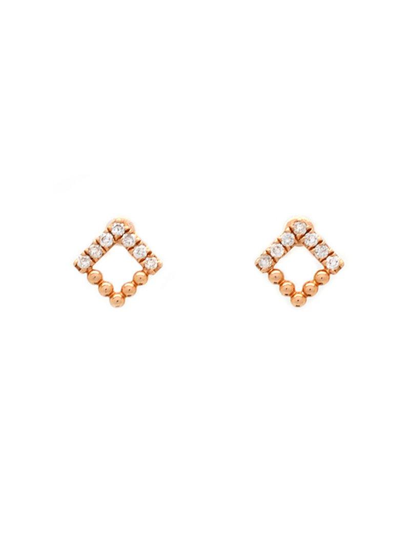 18ct Rose Gold Diamond Stud Earrings