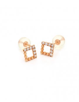 18ct Rose Gold Diamond Stud Earrings