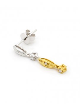 18ct Two-Tone Gold Diamond (0.12ct) Drop Earrings