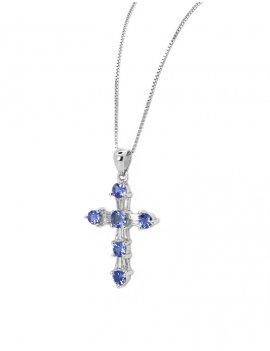 18ct White Gold Tanzanite & Diamond Cross Pendant