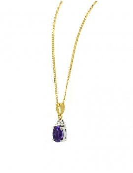 18ct Yellow Gold Amethyst & Diamond Pendant