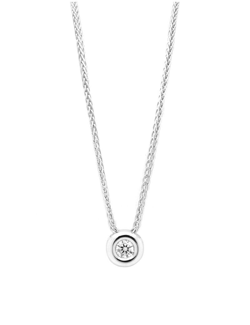 18ct White Gold Rubover Diamond Pendant