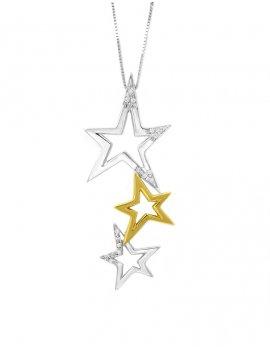 18ct Two-Tone Gold Diamond Star Pendant