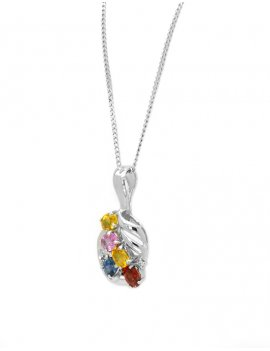 18ct White Gold Fancy Sapphire & Diamond Pendant
