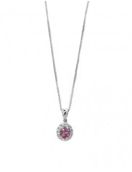 18ct White Gold Pink Sapphire & Diamond Flower Pendant