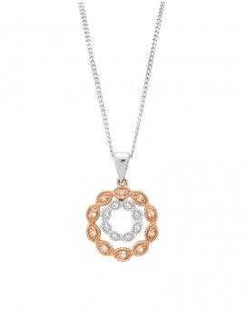 9ct Two Coloured Gold Diamond Circle Pendant