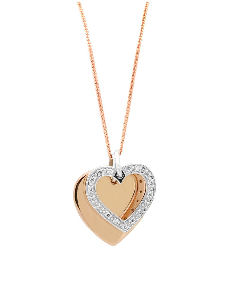 9ct Two Tone Gold Double Heart Pendant