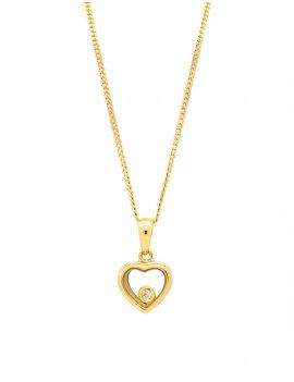 9ct Gold Floating Diamond Heart Pendant