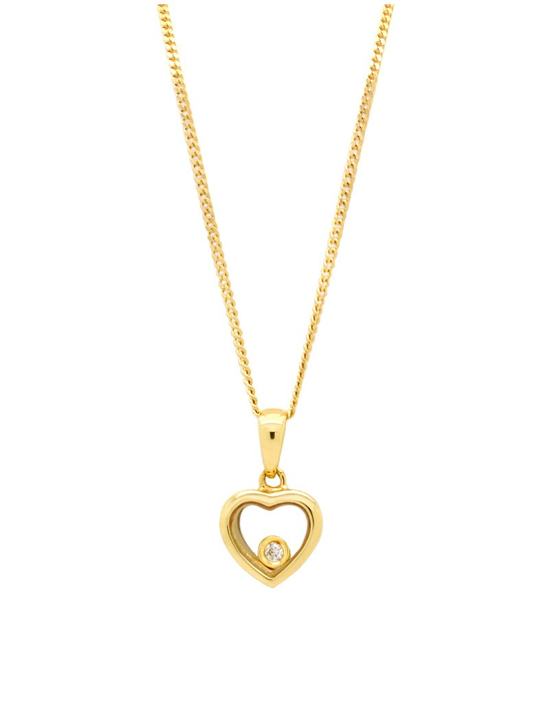 9ct Gold Floating Diamond Heart Pendant