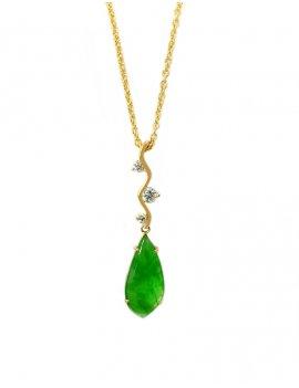 18ct Rose Gold Jade & Diamond Pendant
