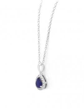 18ct White Gold Diamond Sapphire Pendant