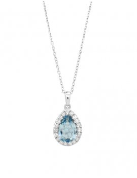 18ct White Gold Diamond Aquamarine Pendant