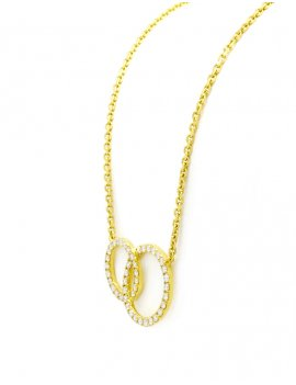 18ct Gold  Diamond Double Circle Necklace