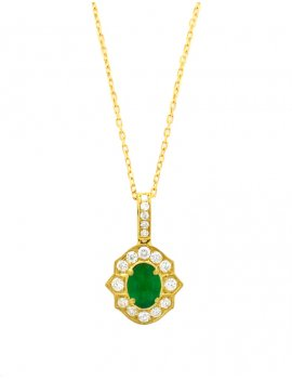 18ct Gold  Diamond Emerald Halo Pendant