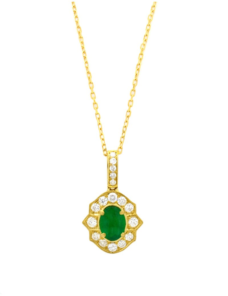 18ct Gold  Diamond Emerald Halo Pendant