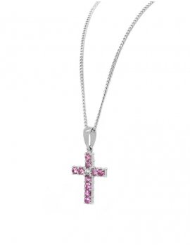 18ct White Gold Pink Sapphire & Diamond Cross Pendant