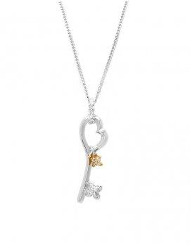 18ct White Gold Diamond Love Key Pendant