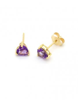 9ct Gold Amethyst Heart Stud Earrings