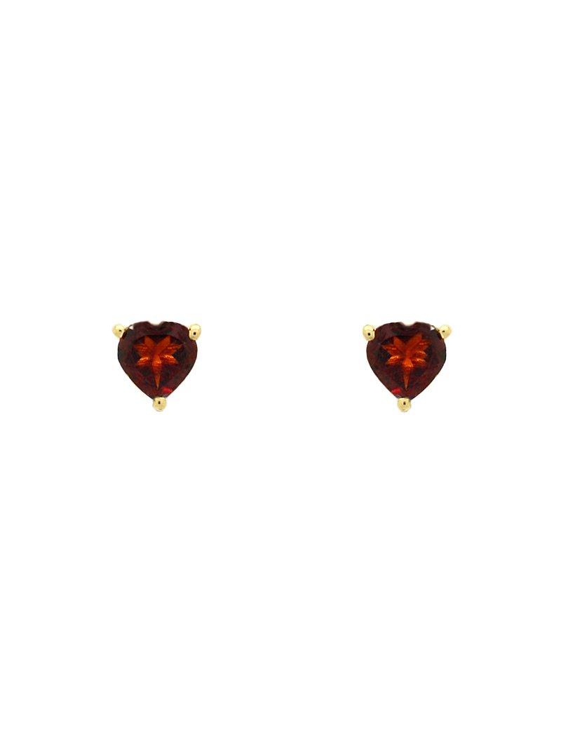 9ct Gold Garnet Heart Stud Earrings