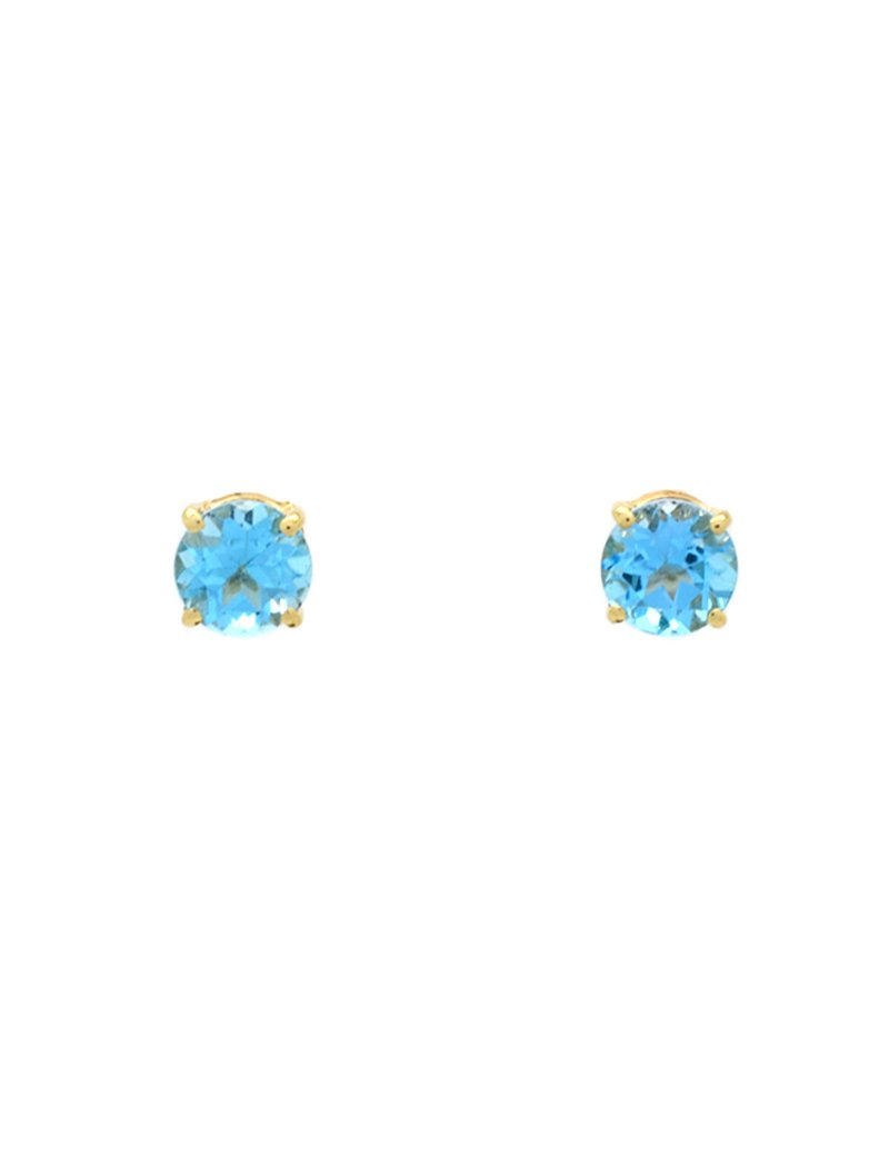 9ct Gold Blue Topaz Stud Earrings