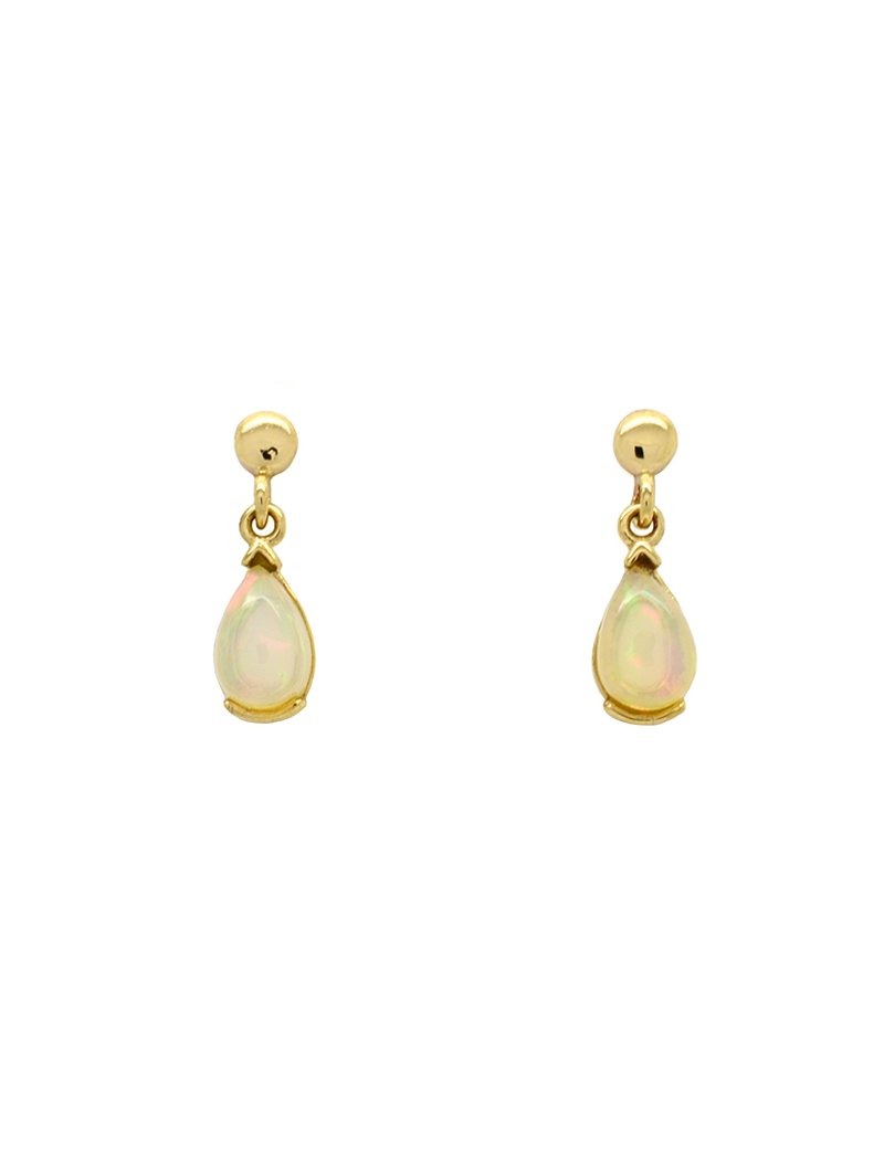 9ct Gold Vintage Opal Drop Earrings