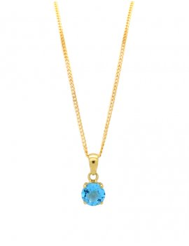 9ct Gold Blue Topaz Pendant