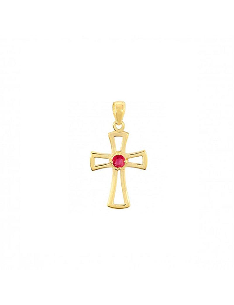 9ct Gold Ruby Cross Pendant