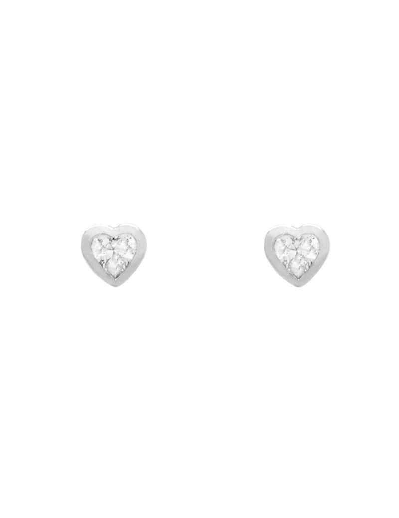9ct White Gold Cubic Zirconia Heart Stud Earrings