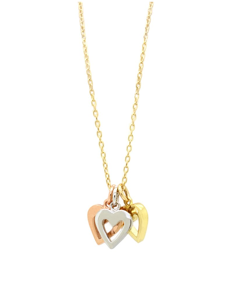 9ct Three Tone Gold Triple Heart Pendant
