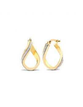 9ct Yellow Gold Wavy Twist Gliiter Hoop Earrings