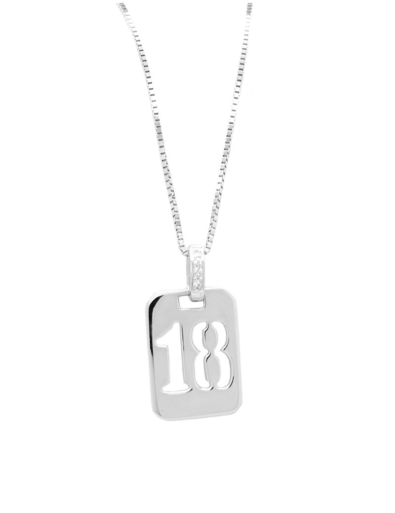 9ct White Gold 18th Birthday with Cubic Zirconia Pendant