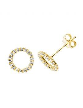 9ct Yellow Gold Full Circle CZ Stud Earrings