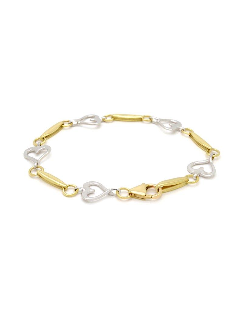 9ct Two-Tone Gold Heart Bracelet - 19cm