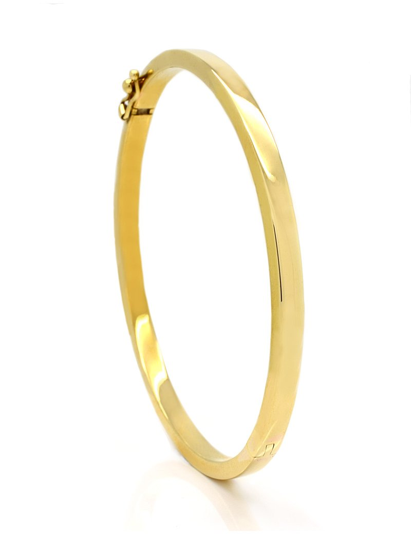 9ct Gold Rectangular Tube Bangle