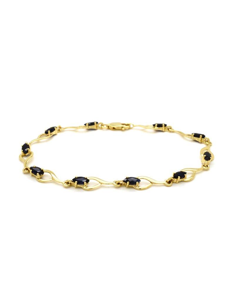 9ct Gold Sapphire Bracelet - 19cm